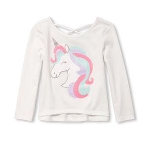 NWT White Unicorn Long Sleeve Top 12-18mo